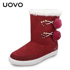Mother & Kids Uovo 2019 New Warm Winter For Child Kid Girl Snow Boots Comfort Rubber Boots Fashion Cotton-padded Shoes Size 32#-38#