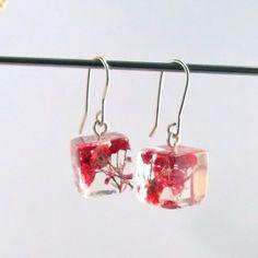 Botanical Resin Earrings. Floral Earrings. Pressed Flower Earrings.  Handmade Jewelry with Real Flowers - Red Baby's Breath