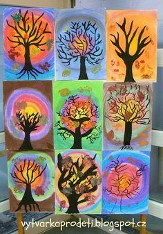 Tvoříme s dětmi  ☺: Stromy-Věk: 7. třída  Formát:A3- čtvrtka 220g/m2 podklad- suchý pastel strom je nakreslený slabým štětcem černou tuší list- tisk tempera čas: 1,5 vyuč. hodiny