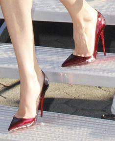 Victoria's Secret Angel Candice Swanepoel in Dark Burgundy Christian Louboutin Pumps