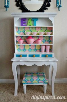 Repurposed Kids Play Kitchen Hutch - made out of dumpster and thrift store finds!