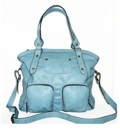 Light blue leather tote bag leather handbag leather cross-body bag Magui size L // SALE