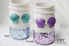 Mermaid Mason Jar Centerpiece // Mermaid party supplies // Mermaid Party Decoration