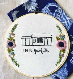 Custom Home and Address Embroidery Hoop. Hand Embroidery by KimArt. Sentimental Housewarming Gift. Family Heirloom Home. by KimArt on Etsy https://www.etsy.com/listing/271177474/custom-home-and-address-embroidery-hoop
