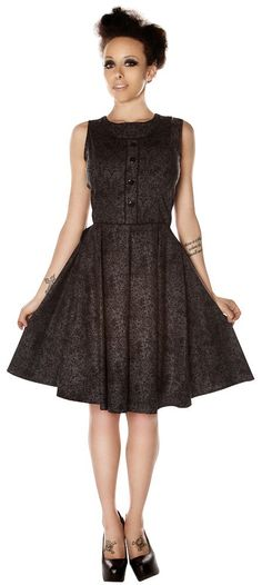 FOLTER MOURN IN STYLE DRESS This Mourn in Style dress from Folter has a shape that's always a Folter favorite! Now featuring a Victorian black scrolling print on a charcoal background, this dress also has a rounded neckline and front contrast buttons and piping. Zippers up the back for a sure fit! $84.00 #folter #dress #halloween #victorian