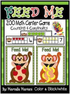 This $1.50 package provides a Zoo Animals math center game.  This is a fun game where students count the number of apples or bananas on the 10 frame card and feed the monkey the same number of counters.  This game was designed to compliment little fruit counters I have in my class but I included little apples and bananas you can cut if you do not have the fruit countersThis set includes 4 Monkey mats (2 with color border and 2 without)3 sets of color ten frames (red apples, green apples…