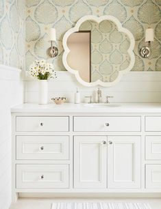 Wallpaper and Shiplap Trim on Bathroom Walls - Transitional - Bathroom