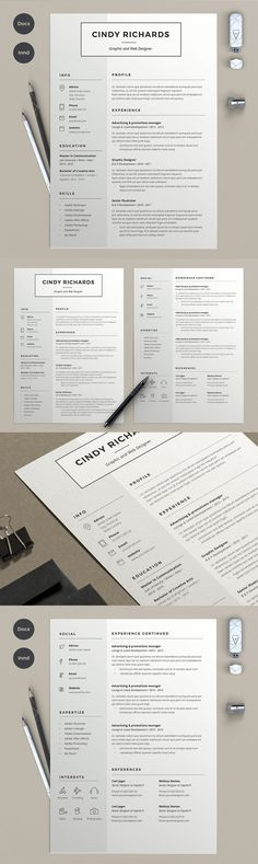 Resume Cindy (2 pages) Templates EPS, AI
