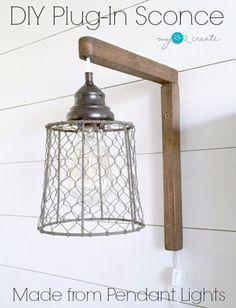 DIY Farmhouse Style Decor Ideas - DIY Plug In Sconce From Pendant Lights - Rustic Ideas for Furniture, Paint Colors, Farm House Decoration for Living Room, Kitchen and Bedroom http://diyjoy.com/diy-farmhouse-decor-ideas