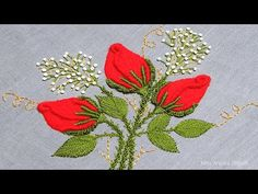 Blouse Pattern Free, Free Pattern, Embroidery Stitches Tutorial, Embroidery Designs, Cute Rose, Rose Embroidery, Red Roses, Sewing, Flowers