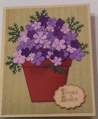 I made 2 versions of this card.  One with ribbon flowers and one with these type of flowers. Both are nice & easy to make.  I made a 3rd card using bigger flowers, it is by far my favorite.  Easy to make and the most attractive.