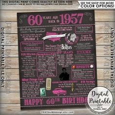 "60th Birthday 1957 Printable Chalkboard Style Poster -- A fun birthday poster filled with facts, events, and tidbits from the USA in 1957. Makes an excellent gift or party decoration! See below for how to customize your poster, as well as how to print it!  *** DIGITAL PRINTABLE FILE ONLY! No physical prints will be sent *** • INSTANT DOWNLOAD! Simply order, download, print and enjoy! The print comes as seen in the previews – no changes can be made to Instant Download digital files. • 16x20""…"