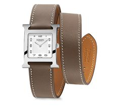 Heure H Hermes steel watch, 26 x 26mm, white dial, quartz movement, long double tour smooth taupe calfskin leather strap Ref. W036785WW00 $2,450.00
