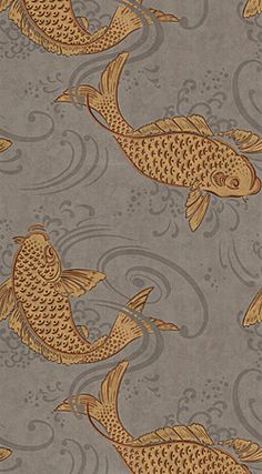 Osborne Little Derwent Ornamental Koi Carp in a swirling grey pool. This oriental style wallpaper is named after the River Derwent, West Cumbria. Chinoiserie, Bathroom Wallpaper Fish, Goldfish Wallpaper, Wallpaper Toilet, Osborne And Little Wallpaper, Tapete Gold, Deco Nature, Koi Carp, Burke Decor