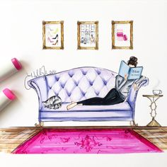 """""""New print , """"Bliss At Home""""  Click shop link in bio or visit hnillustration.etsy.com #fashionsketch #fashionillustration #fashionillustrator #boston…"""""""