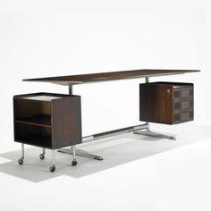 Gio Ponti; Mahogany, Chromed Steel, Aluminum and Enameled Steel Desk for Pirelli Tower, 1961 .
