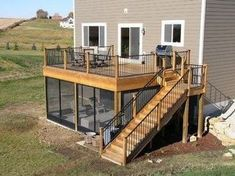 Shed DIY - If the house has a raised deck like this, a screened porch is an excellent idea. Or could otherwise work as a craft shed or regular shed. Now You Can Build ANY Shed In A Weekend Even If You've Zero Woodworking Experience! Raised Deck, Casas Containers, Deck Stairs, House Design Photos, Diy Deck, Deck Plans, Boat Plans, Decks And Porches, Screened Porches