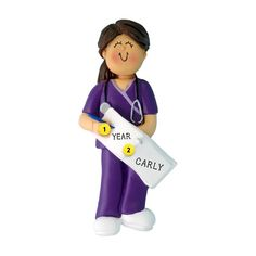 Great college graduation gift for a nursing major! Celebrate their graduation and a new career in nursing! Nurse in Scrubs Ornament - Female, Brown Hair Nursing Major, Nursing Pins, College Graduation Gifts, Nursing Graduation, New Career, New Job, Graduation Ornament, Pinning Ceremony, Old World Christmas Ornaments