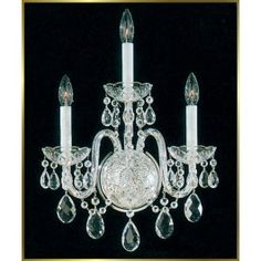 3 lights traditional crystal wall sconce in polished chrome finish