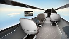 Windowless jet uses full length screens on the interior to allow passengers panoramic views of the sky and earth below (6/13)