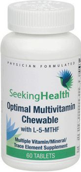 Optimal Multivitamin Chewable with L-5-MTHF By Seeking Health (Multiple Vitamin/Mineral Supplement). Daily Supplementation of Essential Micronutrients. A balanced mix of 26 important nutrients. Easy-to-absorb nutrients and minerals. Contains natural cherry and orange flavor. Available at ProHealth.com ($19.95) #ProHealth
