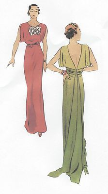 1930s Vintage Sewing Pattern B34 EVENING DRESS with TRAIN (R953) | eBay