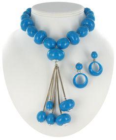 Vintage West German Blue Pendant Necklace Earrings