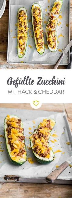 Hier wird deine Zucchini mit einer leckeren Hackfleischfüllung verfeinert. Überbacken mit Cheddar wird das Ganze zum leckeren Low-Carb-Abendessen.