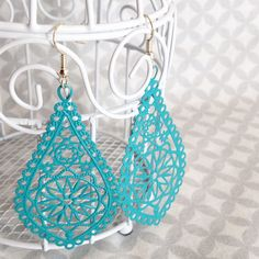 Turquoise Hand Painted Teardrop-shaped Filigree Earrings
