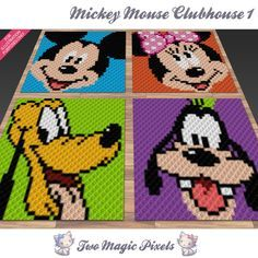 Mickey Mouse Clubhouse Pillow Bundle 1 by Two Magic Pixels Crochet Mickey Mouse, Minnie Mouse, Crochet Disney, Mickey Mouse Clubhouse, Crochet Chart, Crochet Blanket Patterns, Baby Blanket Crochet, Crochet Baby, Corner To Corner Crochet