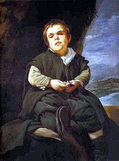 Velazquez, Diego (1599-1660) - 1643-45 The Dwarf Francisco Lezcano (Museo de Prado, Madrid, Spain), for more please visit http://painting-in-oil.com/artworks-El-Greco-page-1-delta-ALL.html