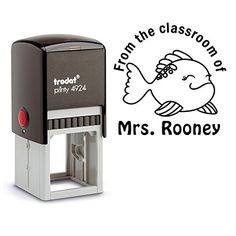 Black Ink From the Classroom of Teacher Stamp Fish Class School Library Book Stamper Self Inking Personalized Custom Large Round 2 Lines Customized Personal Teacher Appreciation Christmas Gift ** Visit the image link more details.