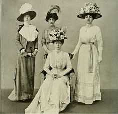 Queen Mary with some of her ladies-in-waiting, 1911.