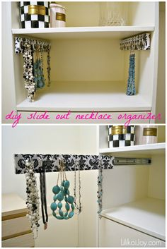 How to Make Slide-Out Hanging Organizers for Closets {tutorial} - Great as a necklace organizer. You can also add hooks for belts, ties, extra clothes hooks, scarves... so many things!