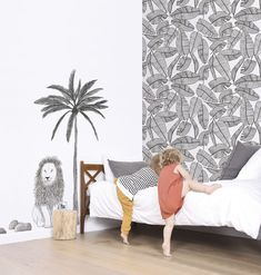 Tropical Leaves Serengeti Wallpaper - Silk Interiors Wallpaper Australia  Available from www.silkinteirors.com.au #wallpaper #wallpaperforwalls #kidswallpaper #palmleaves #tropical