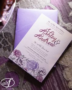 Floral and lace wedding invitations for @iamashleylscott and Drew married at @southernhighlandsgc. Photo by @altfphotography.
