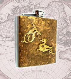 Steampunk Dragons Serpent Hip Flask