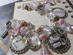 LIFE LESSONS~vintage ephemera~Altered Art Charm Bracelet  ooak ebsq   By, Bostoncharm
