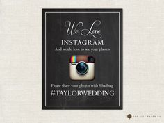 Instagram Sign, If You Instagram, Instagram Wedding Sign - Chalkboard Themed Party or Wedding Instagram Sign 8x10 (INSTANT DOWNLOAD) by OakCityPaperCompany on Etsy https://www.etsy.com/listing/193396228/instagram-sign-if-you-instagram