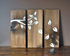 Rustic Three Panel Tree Branch Wood Wall Hang Art. $39.99, via Etsy.