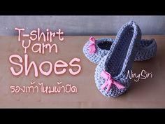 Easy Crochet Slippers vintage T-shirt Yarn - YouTube