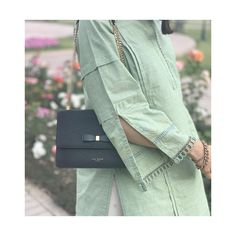 giving us major outfit goals. She has chosen to pair this sage pastel with a black shoulder bag from Ted Baker and some… Kurti Sleeves Design, Kurta Neck Design, Sleeves Designs For Dresses, Dress Neck Designs, Sleeve Designs, Blouse Designs, Pakistani Fashion Casual, Pakistani Dresses Casual, Pakistani Dress Design