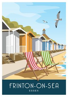 Frinton-on-Sea Essex. Art print Travel/Railway Poster of beach huts at Frinton-on-Sea. in Retro, Art Déco style design British Beaches, British Seaside, Popular Holiday Destinations, Family Vacation Destinations, Uk Destinations, British Holidays, Beach Drawing, Beach Illustration, Estilo Art Deco