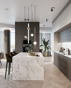 Alexey Seldin on Behance Modern Kitchen Interiors, Luxury Kitchen Design, Kitchen Room Design, Contemporary Kitchen Design, Kitchen Layout, Home Decor Kitchen, Interior Design Kitchen, Home Kitchens, Cuisines Design