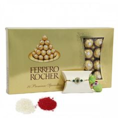 Ferrero Rocher Gift via Ferrero Rocher Gift, Send Rakhi To India, Raksha Bandhan Gifts, Chocolate Hampers, Rakhi Gifts, Online Gifts, Place Card Holders, Frame, Chandigarh
