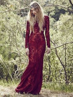For Love and Lemons, long sleeve Etherial Maxi Dress, crimson lace brocade embroidering over a sheer maxi