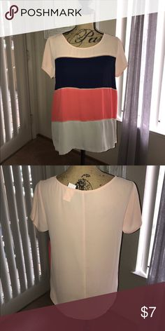 Multicolored Top Forever 21 blouse that would be great under a blazer or by itself.  Never worn.  100% polyester. Forever 21 Tops