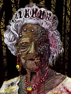 Zombie The Queen (this is how she really looks) Zombie Life, Zombie Art, Rob Zombie, Zombie Rules, Zombie Drawings, Zombie Monster, The Queen Is Dead, Famous Monsters, Zombie Apocalypse