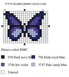 Small butterfly chart for cross stitch, knitting, knotting, weaving, pixel art, and other crafting projects.