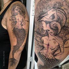 - Mermaid Goat-  Obrigada Mariana, adorei compartilhar 8 horas de milhões de playlist contigo   scarlathlouyse@gmail.com  #mermaid #goat #witch #mermaidtattoo #project #woman #scarlathlouyse #artist #linweorktattoo #inkstinct_tattoo_app #inkstinctsubmission #inktattoo #ink #tattrx #tattoo #tattoo2me #savemyink #tattoodo #equilattera #tattoodasminas #tattooscute